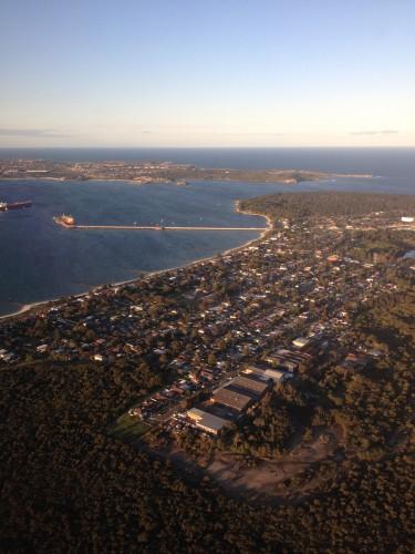 Vista do avião chegando em Sidney.