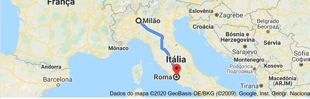 Mapa do caminho de Milão para Roma