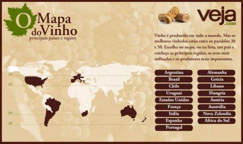 Mapa do Vinho no mundo pela Veja