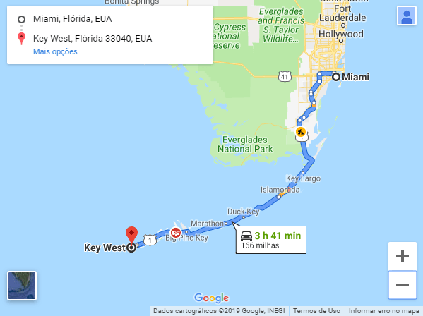 Mapa entre Miami e Key West