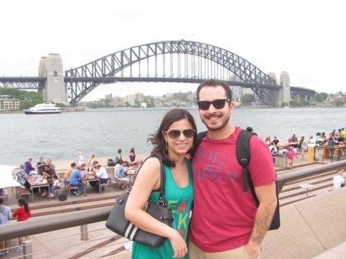 Brasileiros visitando a Harbour Bridge em Sydney
