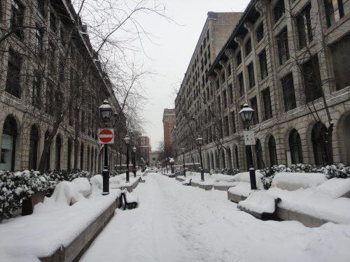 Rua da Old Montreal no inverno