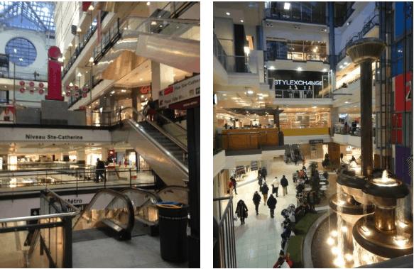 Lojas dentro de shopping subterrâneo em Montreal
