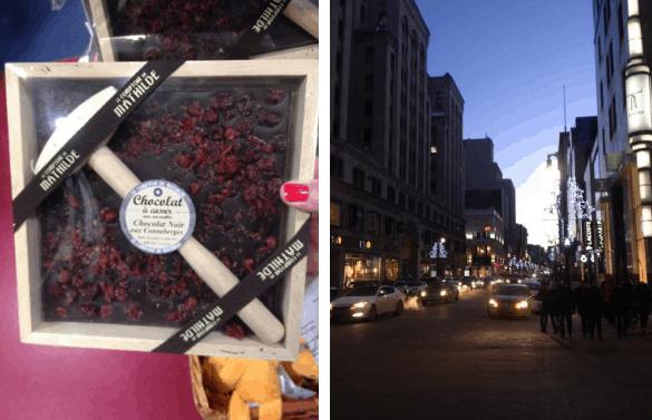 Chocolate e rua comercial de Montreal