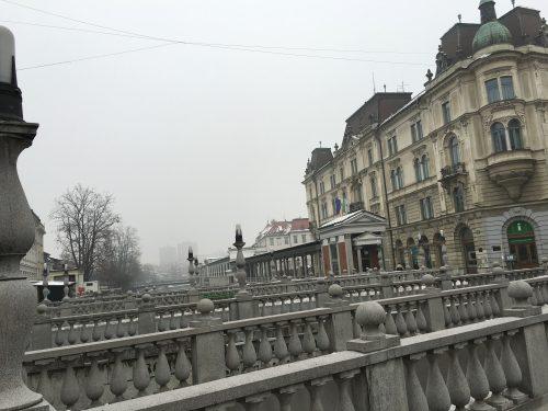 Ponte Tripla no centro de Ljubljana