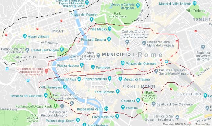 Mapa de Roma dividido em regiões turísticas
