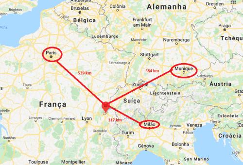 Genebra no mapa da Europa