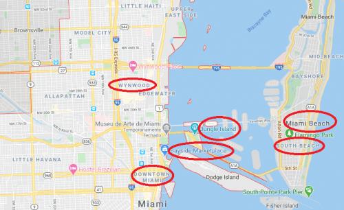Mapa de Miami com bairros turísticos