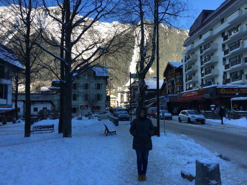 Rua de Chamonix no inverno