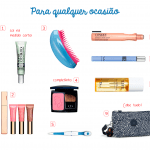 Os cosméticos essenciais em uma necessaire de viagem