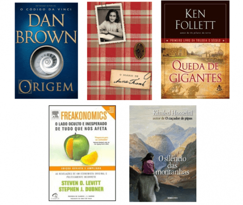 Capas de livros best sellers no Brasil