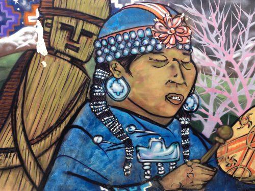 Arte urbana num muro de Valparaíso