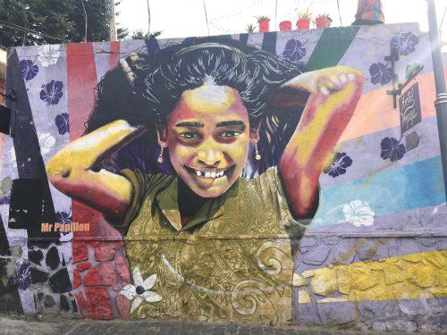 Arte de rua na Paseo Gervasoni em Valparaíso