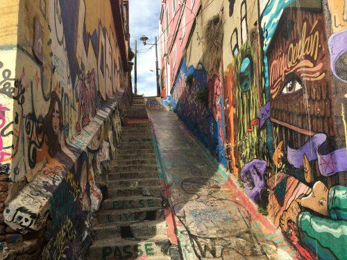 Arte de rua no Paseo Gervasoni em Valparaíso
