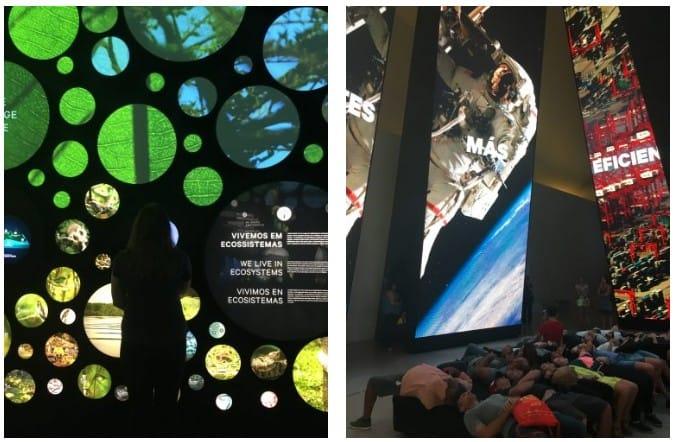 Pessoas aprendendo sobre o mundo no Museu do Amanhã