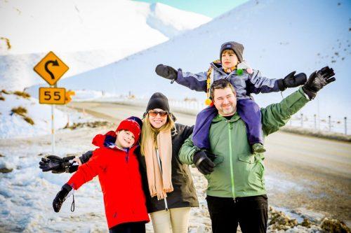 Familia brasileira passeando pela Nova Zelândia