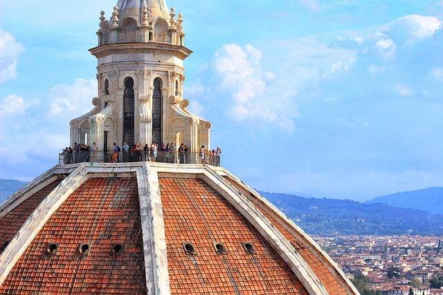 Pessoas no topo da Cúpula de Brunelleschi, em Florença