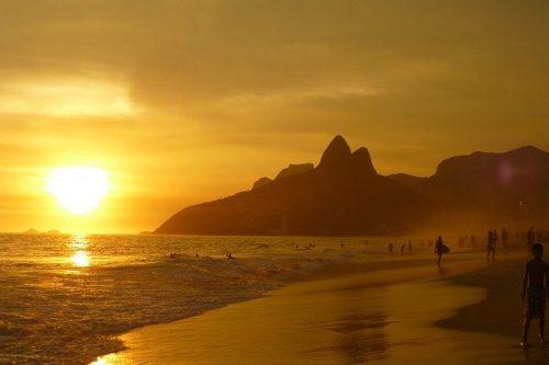 Pôr do sol na Praia de Ipanema