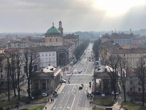 Vista da Città Bassa em Bérgamo