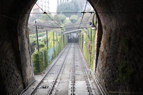 Funicular para a Città Alta em Bérgamo