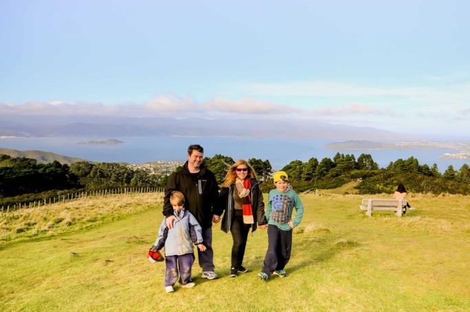 Foto em família na Nova Zelândia