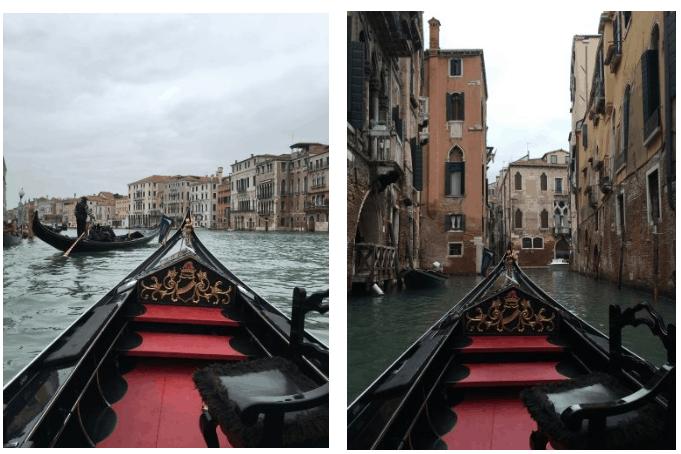 Canais, arquitetura e vista da gôndola