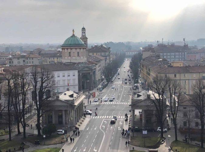 Vista da Cidade Baixa, em Bérgamo