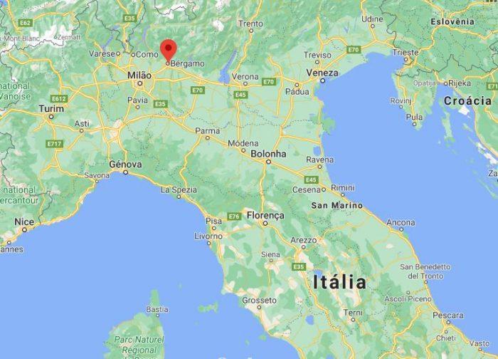 Posição de Bérgamo no mapa da Itália