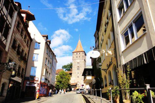 Ruas do centro histórico em Nuremberg