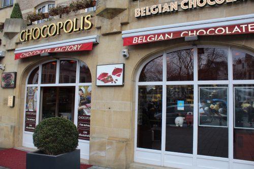 Fachada da loja Chocopolis em Bruxelas