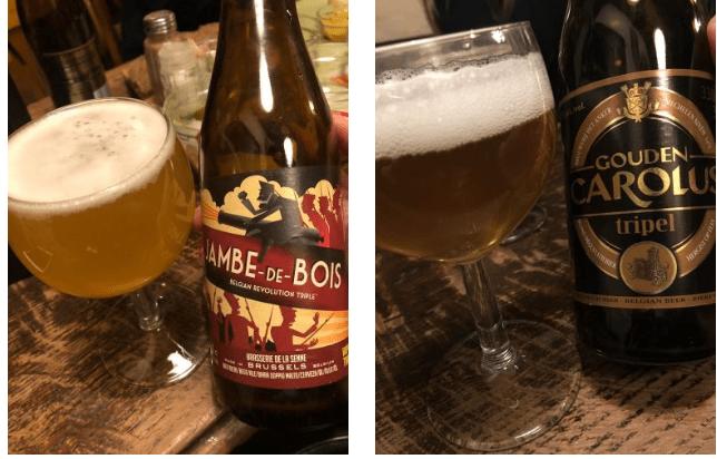 garrafas e copos com cervejas