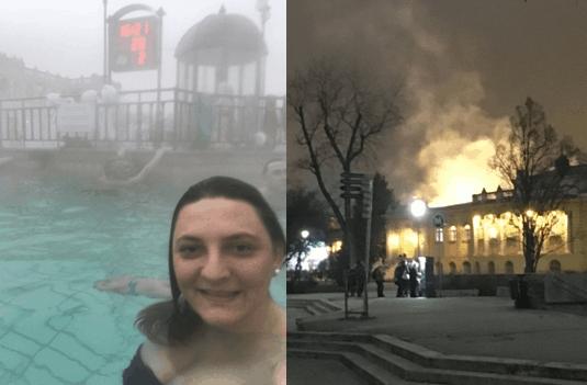 Turista dentro de piscina descoberta do Szechenyi Baths