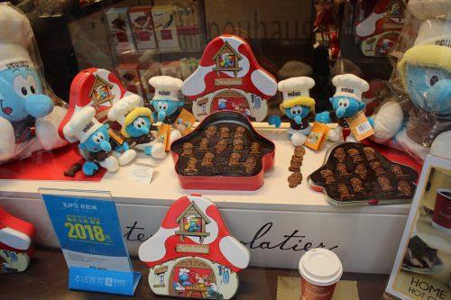 chocolates, pelúcias e souvenirs dos Smurfs