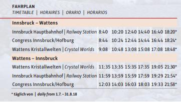 horário do transfer ao Mundo da Swarovski