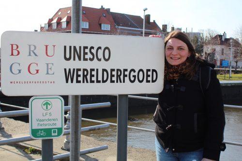 Placa da UNESCO em Bruges