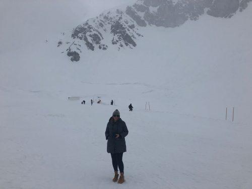 Turista na estação de ski de Nordkette