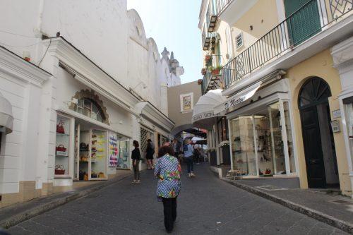 Comércio no centro de Capri