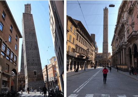 Torres de pedras no centro de Bolonha