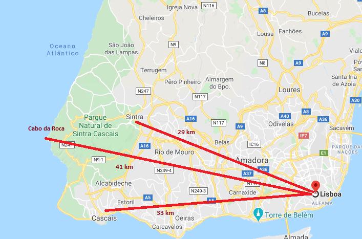 Mapa de Lisboa a Sintra, Cascais e Cabo da Roca