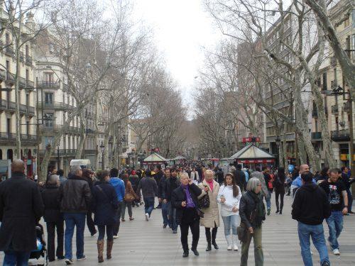 Ramblas na cidade de Barcelona