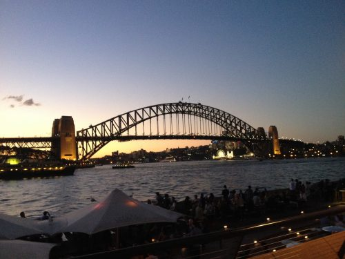 Pôr do sol na Harbour Bridge