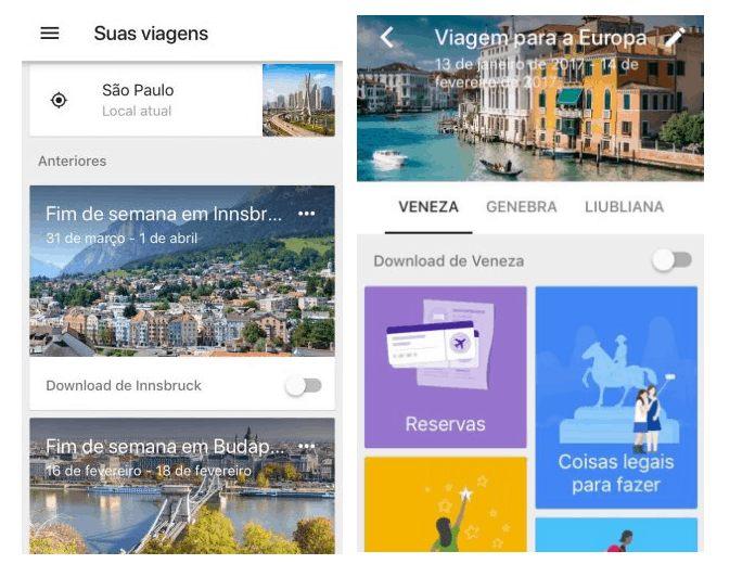 Telas do app Google Trips