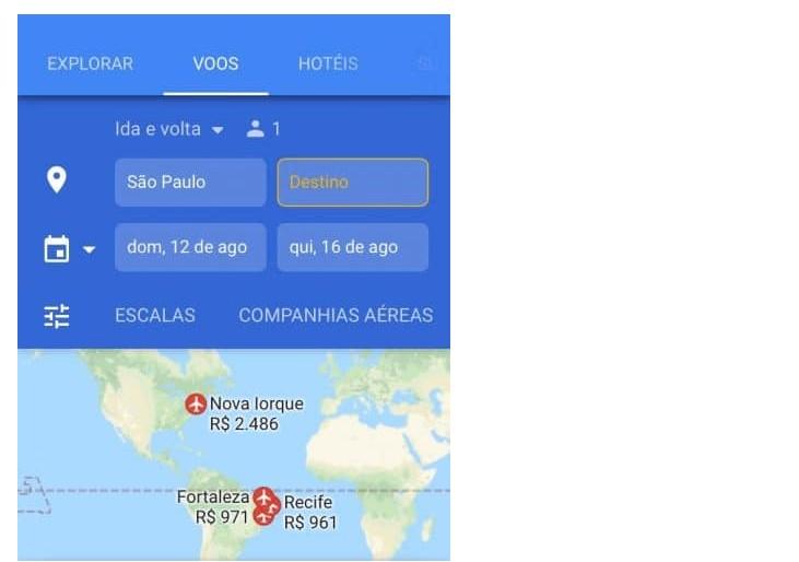 Pesquisa de busca de avião da Google