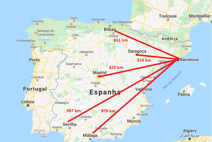 Barcelona no mapa