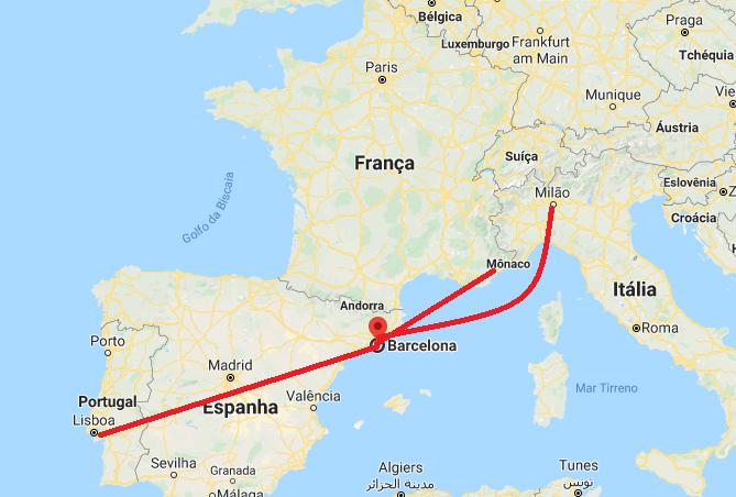 Onde fica Barcelona no mapa da Europa