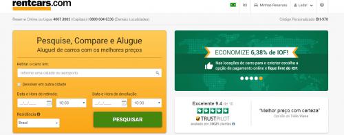 Busca em português para aluguel de carros