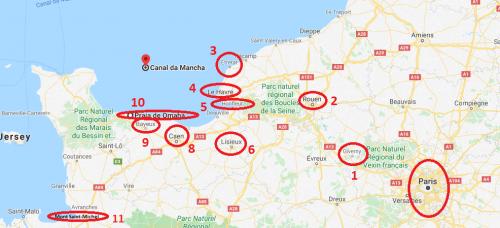 Roteiro de carro pela Normandia