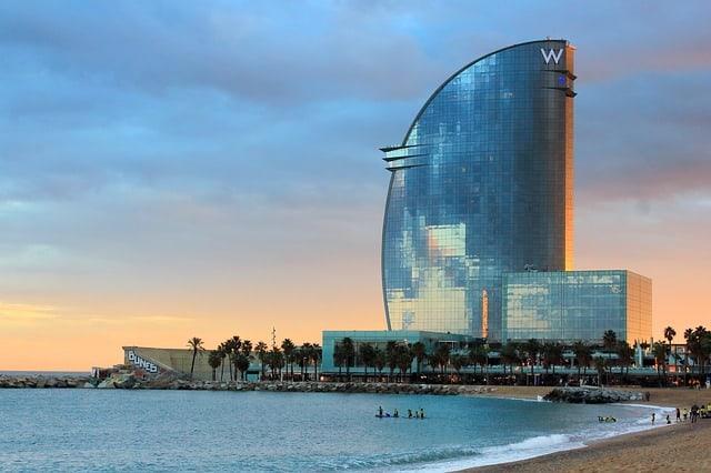 Vista da praia de Barceloneta