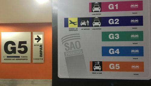 Mapa do estacionamento do aeroporto de Congonhas