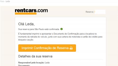 Confirmação da reserva da Rentcars